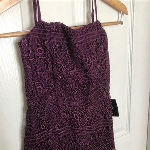 Lulu's Dresses - Magic moments plum lace-up lace midi dress, XS